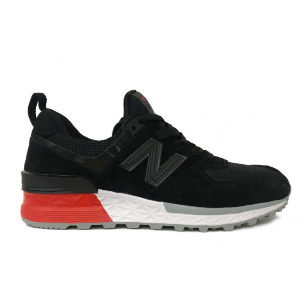New Balance 574 black red (черные с красным)