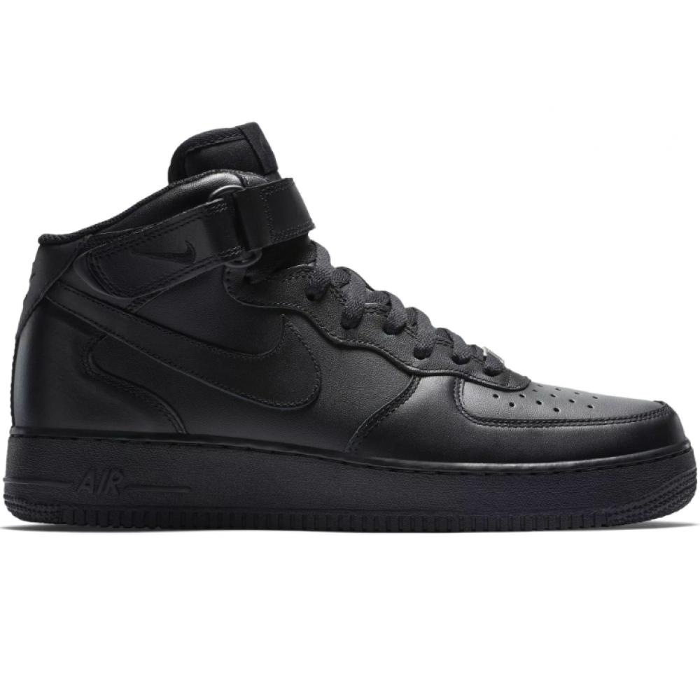 Nike Air Force 1 07 mid зимние с мехом (высокие черные)