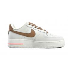 Nike Air Force 1 07 Low white/brown (белые с коричневым)