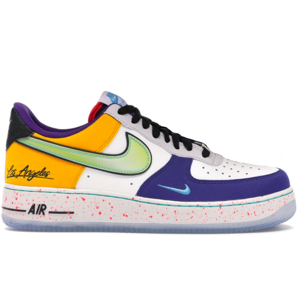 """Nike Air Force 1 '07 """"What the LA"""" (Белые с оранжевым) New"""