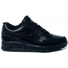 Nike Air Max 90 Leather зимние с мехом (черные)