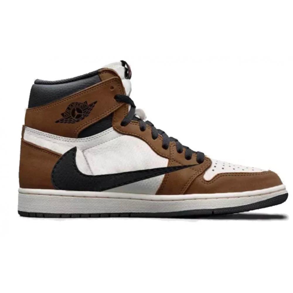 Nike Air Jordan 1 X Travis Scott khaki/white (хаки с белым)