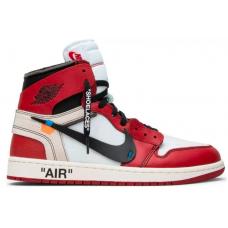 Nike Air Jordan 1 Mid Off-White red/white (красные с белым)