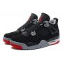 Nike Air Jordan Retro 4 black/red (черные с красным)