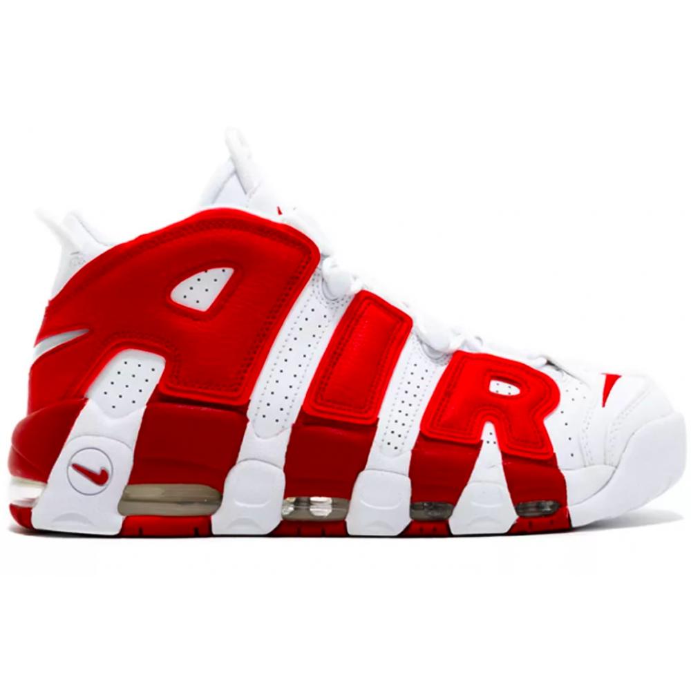 Nike Air More Uptempo 96 white/red (белыые с красным)