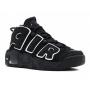 Nike Air More Uptempo 96 black/white (черные с белым кожа)