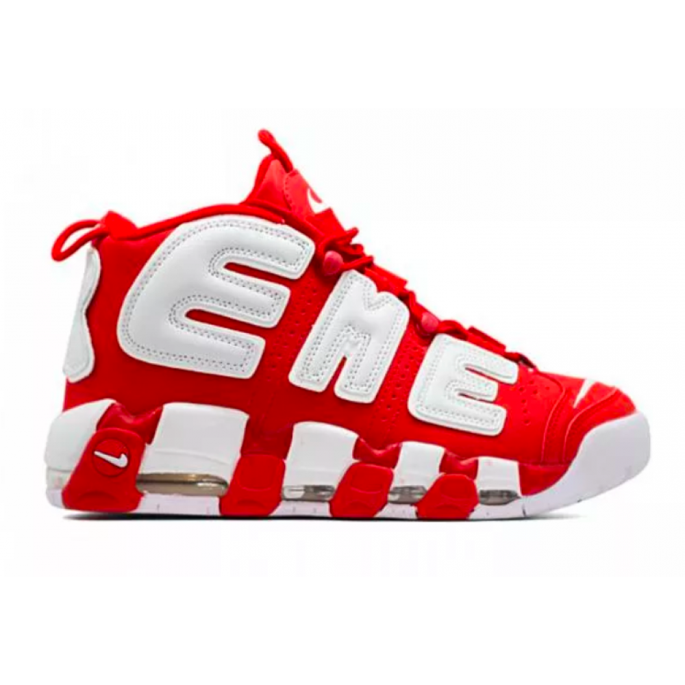 Nike Air More Uptempo 96 Supreme white/red (белые с красным)