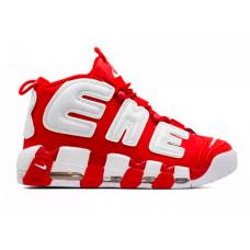 Nike Air More Uptempo 96 Supreme white/red (белые с красным)